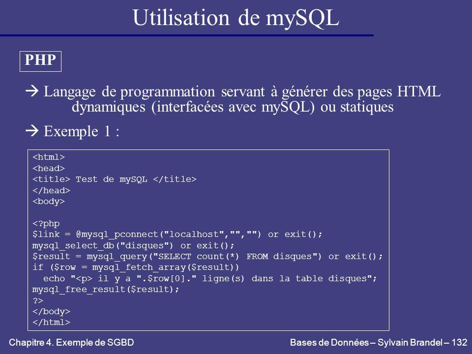 Utilisation de mySQL PHP