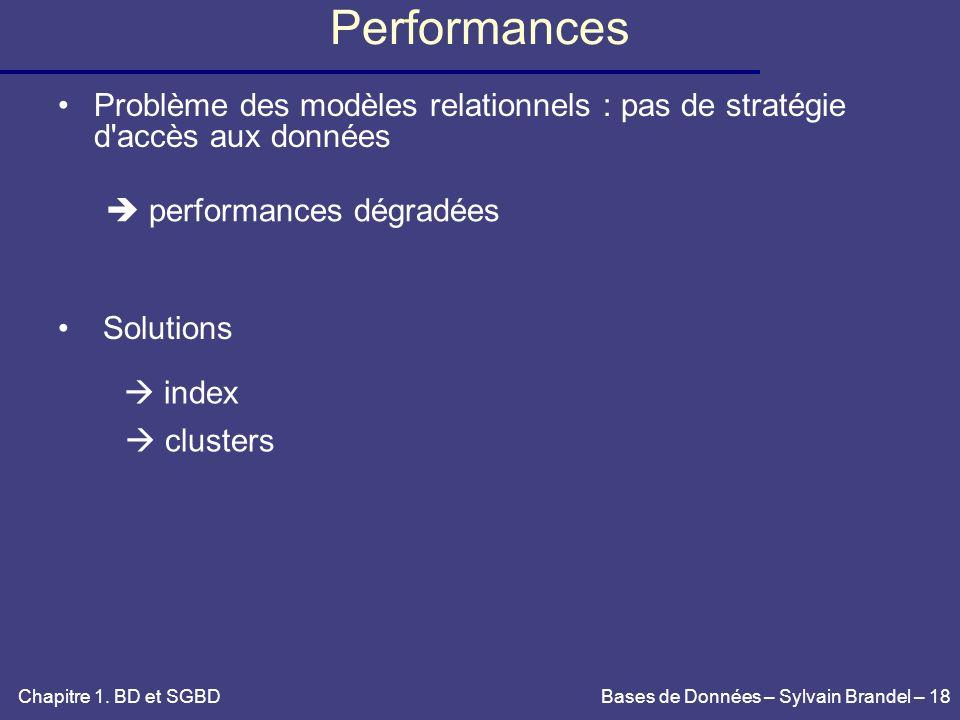 PerformancesProblème des modèles relationnels : pas de stratégie d accès aux données. Solutions.  performances dégradées.
