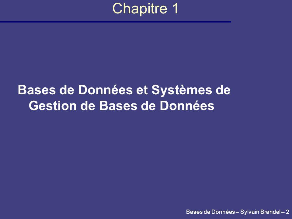 Chapitre 1 Bases de Données et Systèmes de Gestion de Bases de Données
