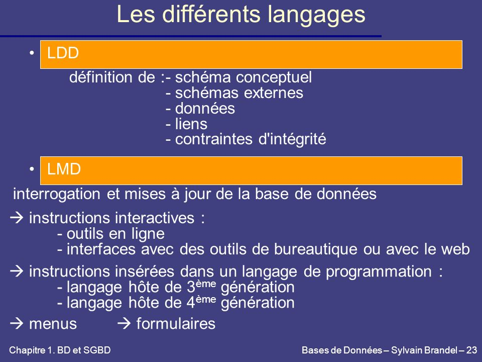 Les différents langages