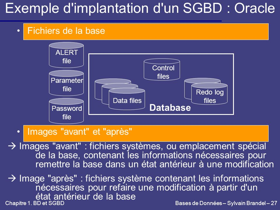 Exemple d implantation d un SGBD : Oracle