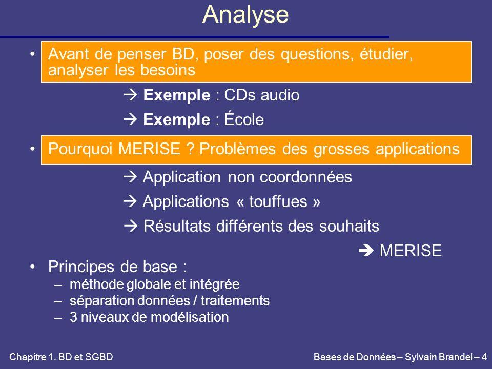 Analyse Avant de penser BD, poser des questions, étudier, analyser les besoins. Pourquoi MERISE Problèmes des grosses applications.