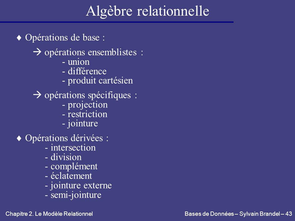 algebre relationnel projection