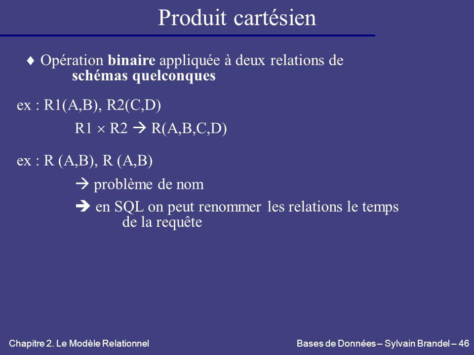 Produit cartésien  Opération binaire appliquée à deux relations de