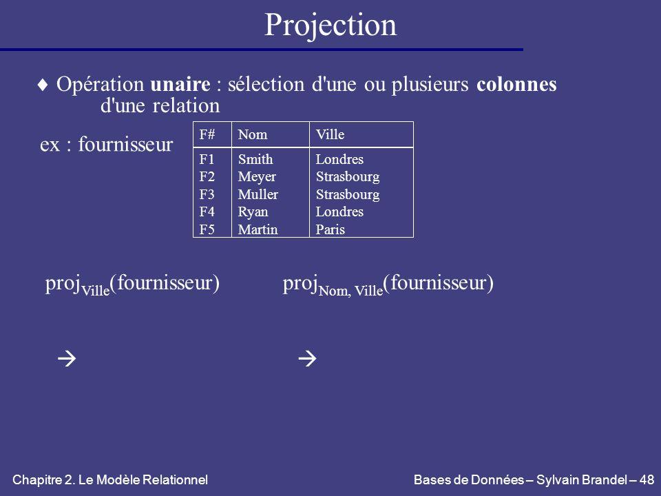 Projection  Opération unaire : sélection d une ou plusieurs colonnes