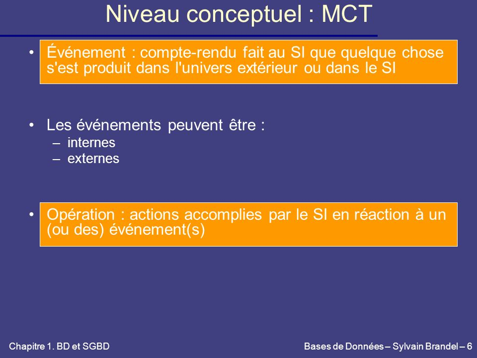 Niveau conceptuel : MCT
