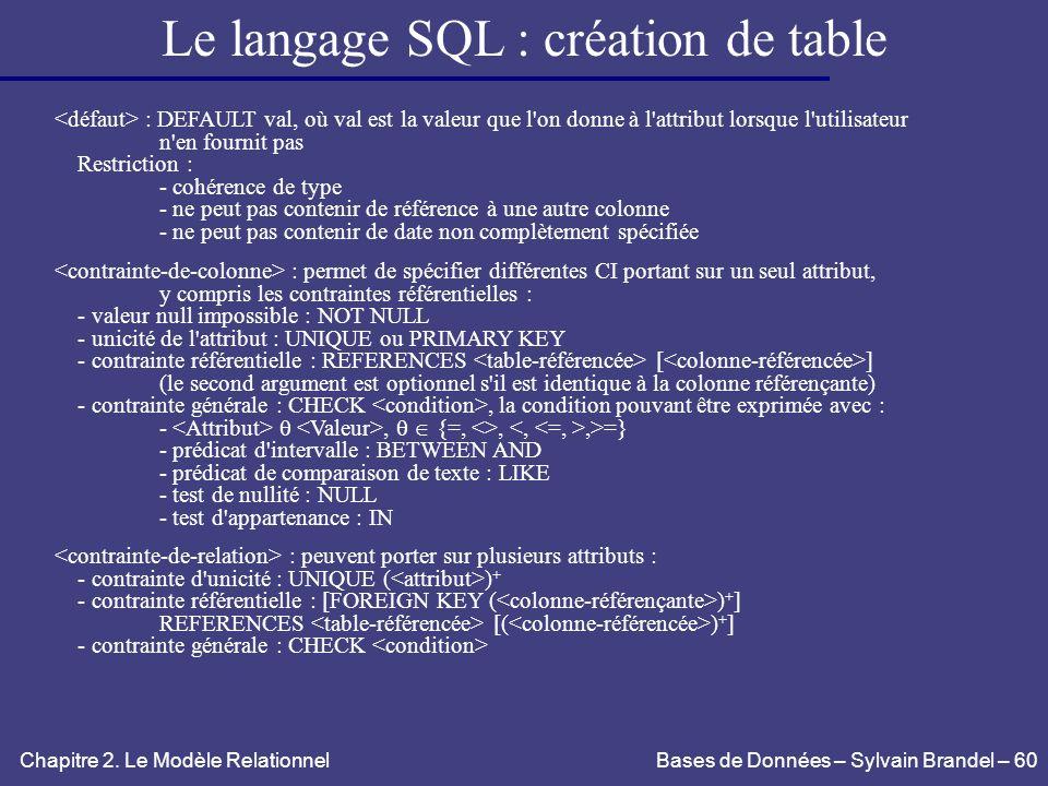 Le langage SQL : création de table