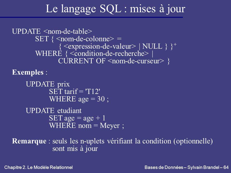 Le langage SQL : mises à jour