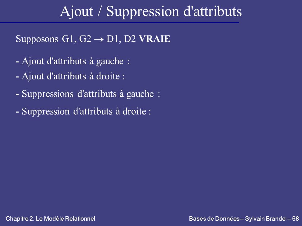 Ajout / Suppression d attributs