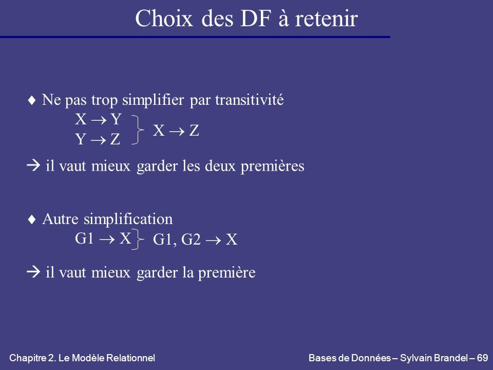 Choix des DF à retenir  Ne pas trop simplifier par transitivité X  Y