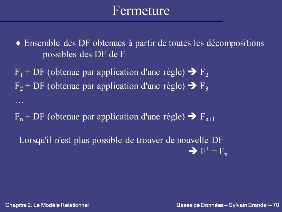 Fermeture Ensemble des DF obtenues à partir de toutes les décompositions. possibles des DF de F. F1 + DF (obtenue par application d une règle)  F2.