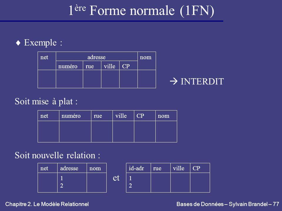 1ère Forme normale (1FN)  Exemple :  INTERDIT Soit mise à plat :