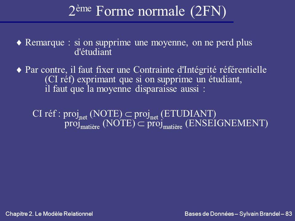 2ème Forme normale (2FN) Remarque : si on supprime une moyenne, on ne perd plus. d étudiant.