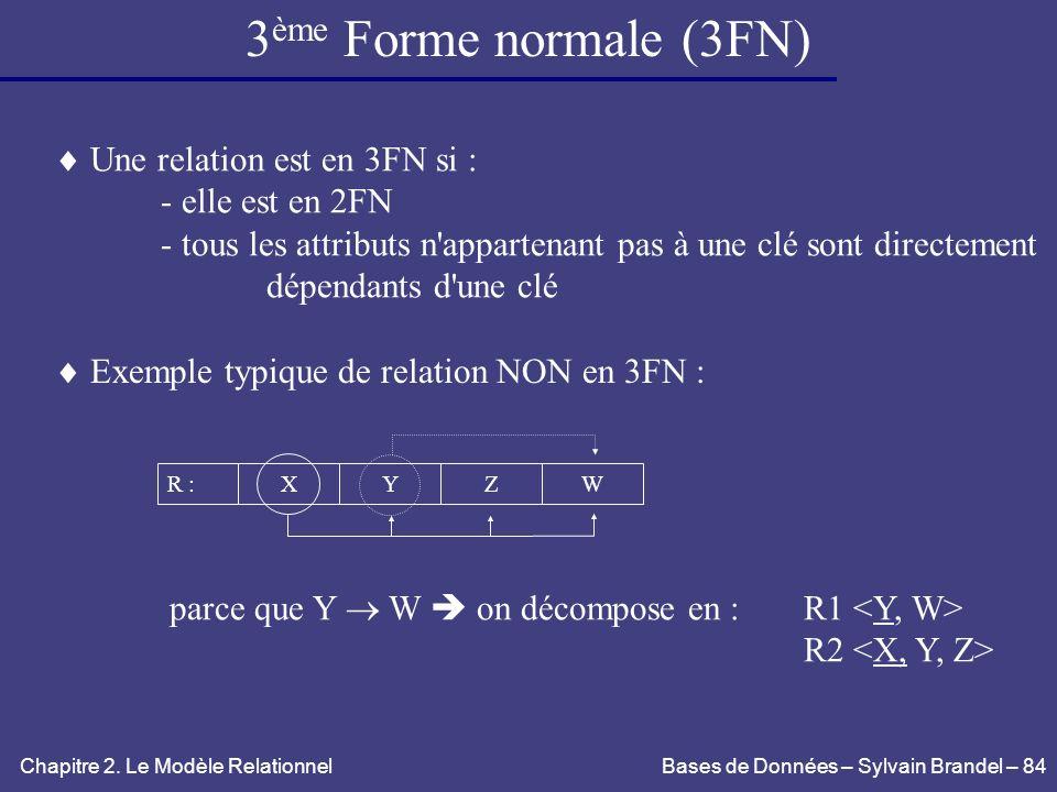 3ème Forme normale (3FN)  Une relation est en 3FN si :