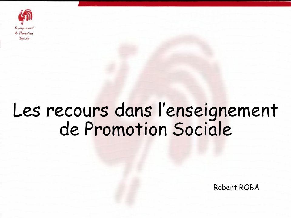 Les recours dans l'enseignement de Promotion Sociale