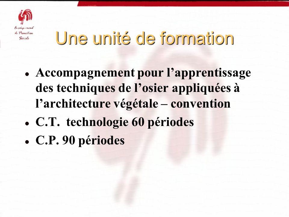Une unité de formation Accompagnement pour l'apprentissage des techniques de l'osier appliquées à l'architecture végétale – convention.
