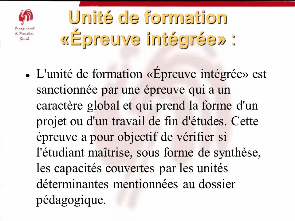 Unité de formation «Épreuve intégrée» :