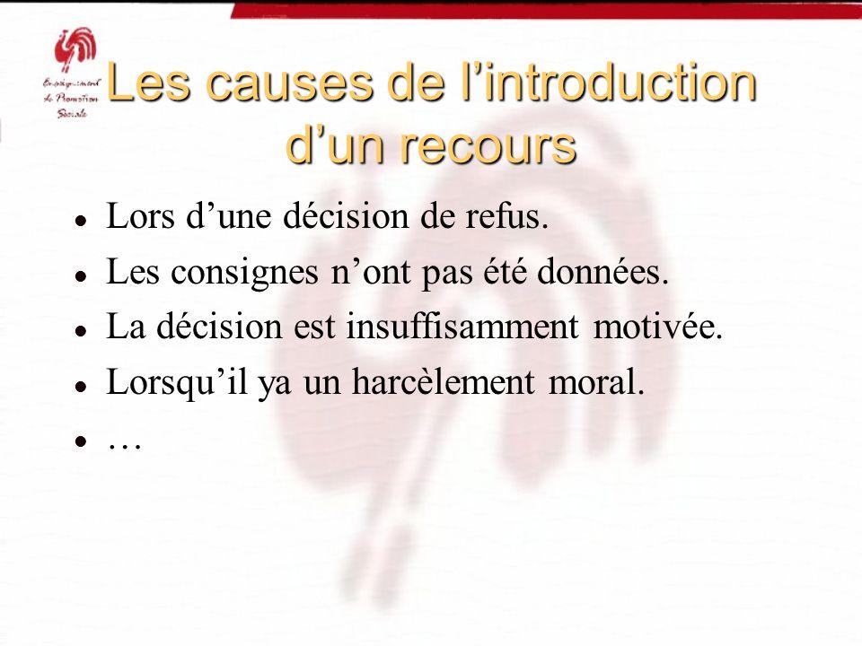 Les causes de l'introduction d'un recours
