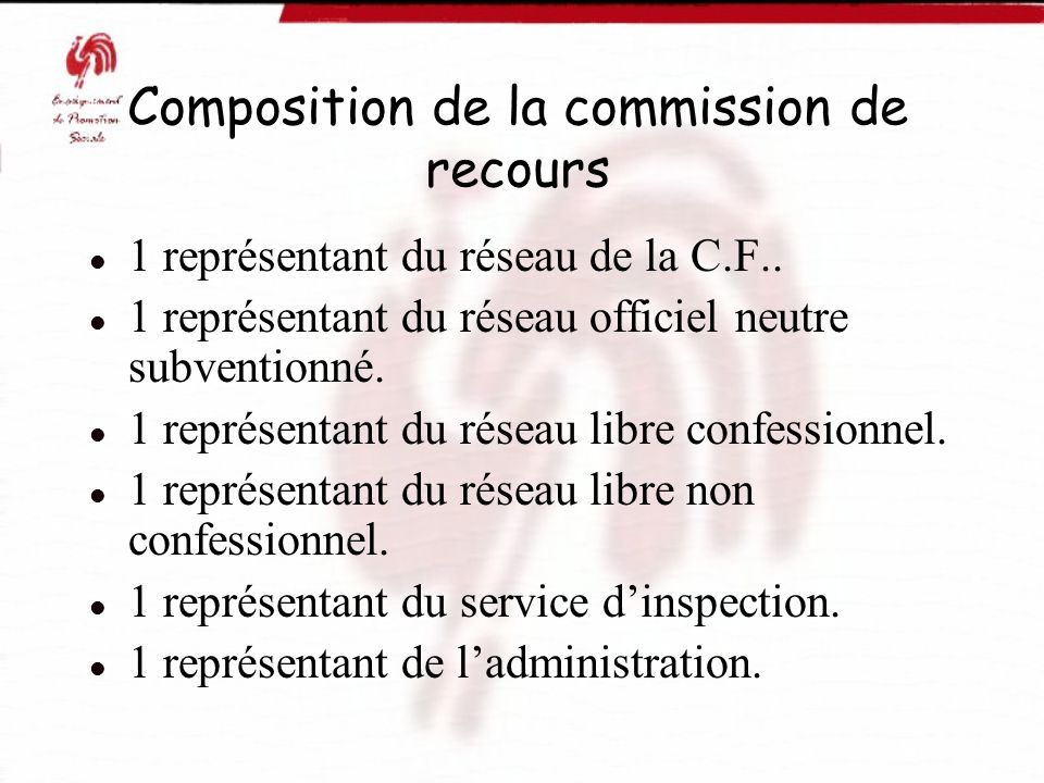 Composition de la commission de recours