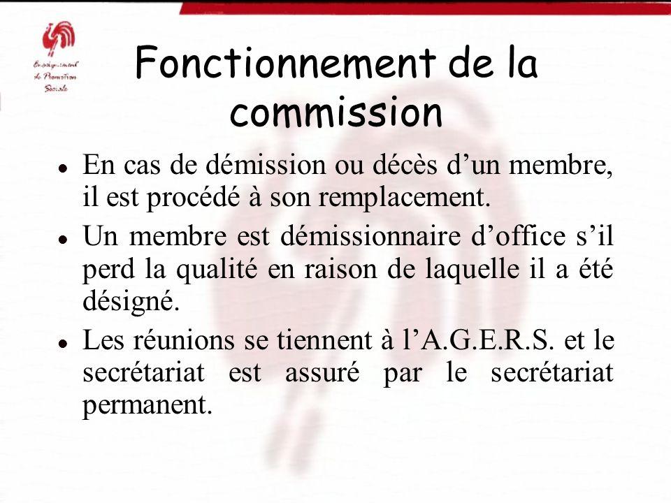 Fonctionnement de la commission