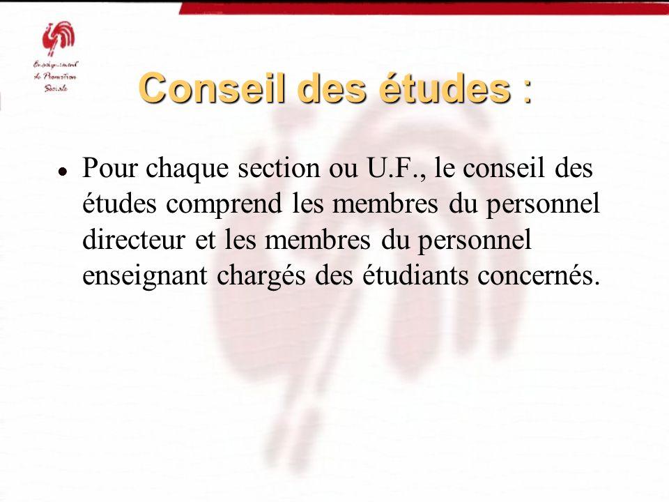 Conseil des études :