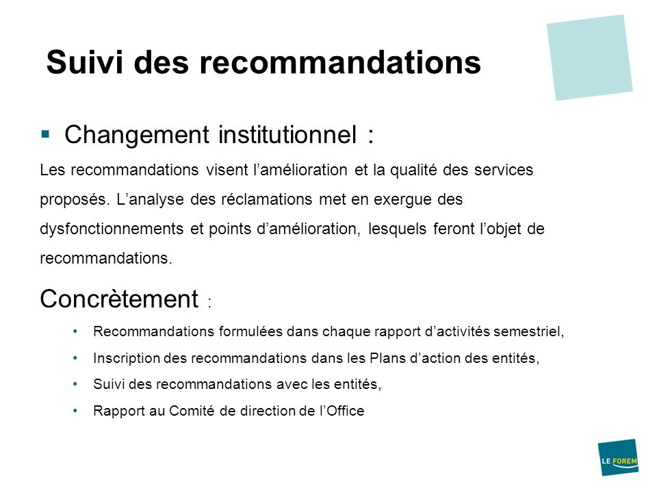 Suivi des recommandations