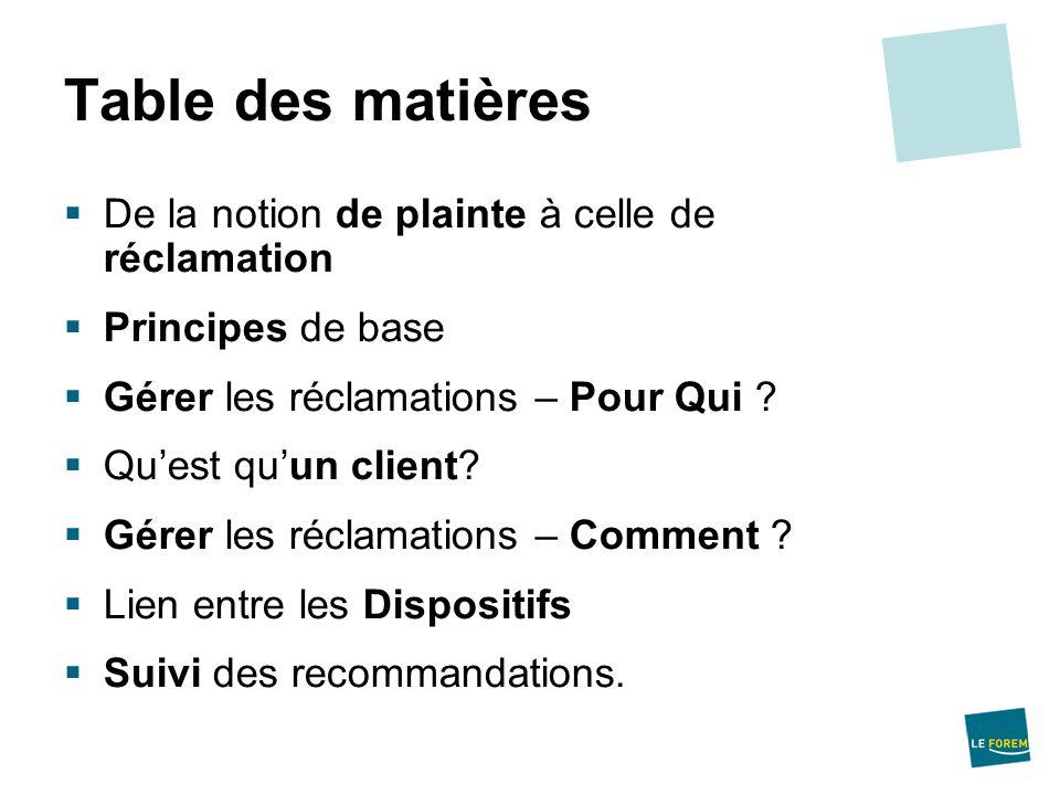 Table des matières De la notion de plainte à celle de réclamation