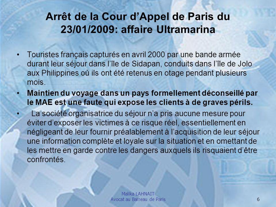 Arrêt de la Cour d'Appel de Paris du 23/01/2009: affaire Ultramarina