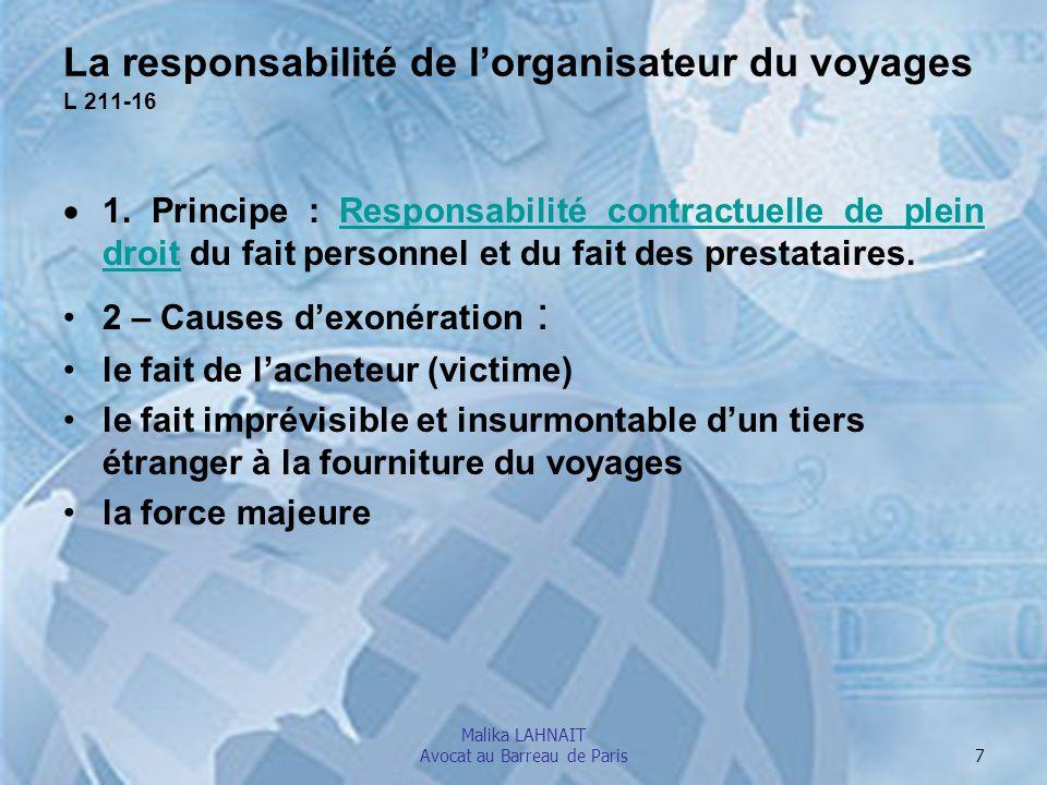 La responsabilité de l'organisateur du voyages L 211-16