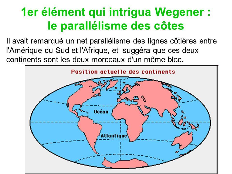 1er élément qui intrigua Wegener : le parallélisme des côtes