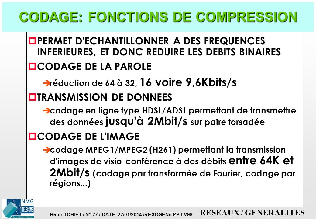 CODAGE: FONCTIONS DE COMPRESSION