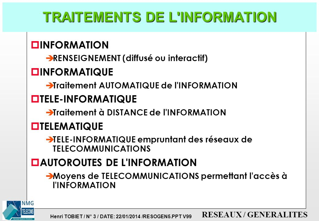 TRAITEMENTS DE L INFORMATION