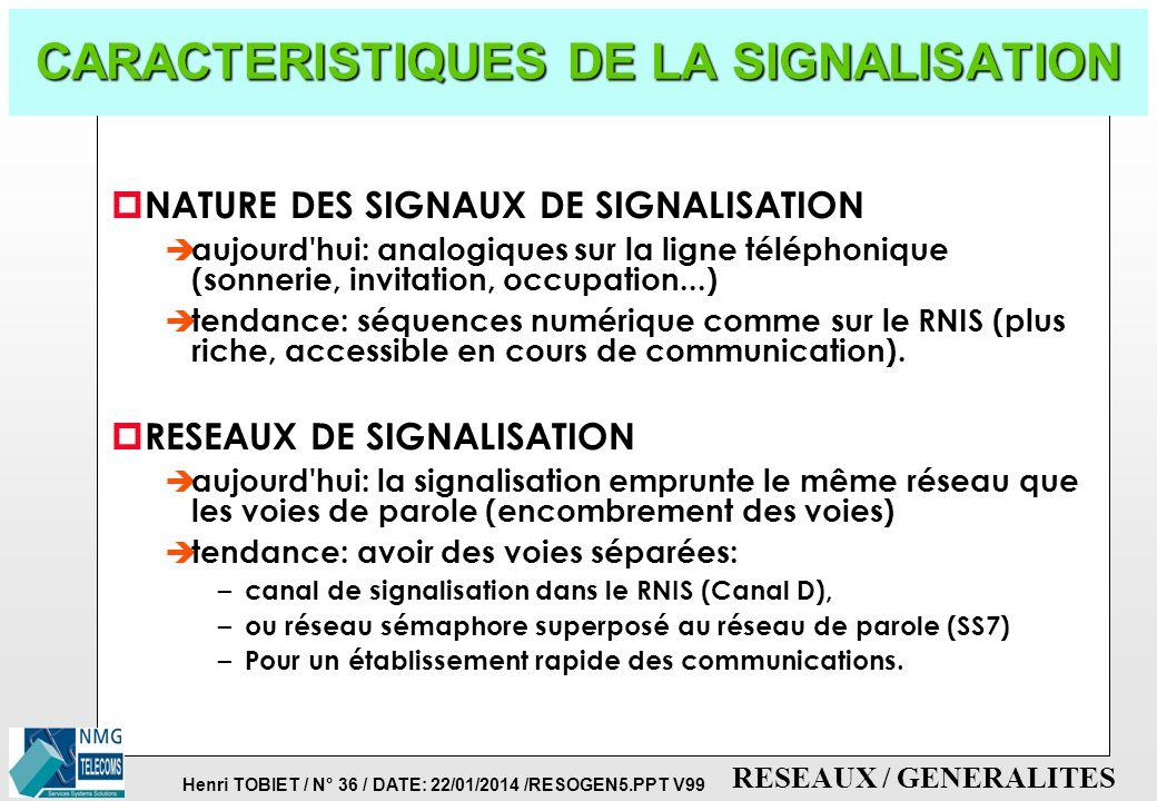 CARACTERISTIQUES DE LA SIGNALISATION
