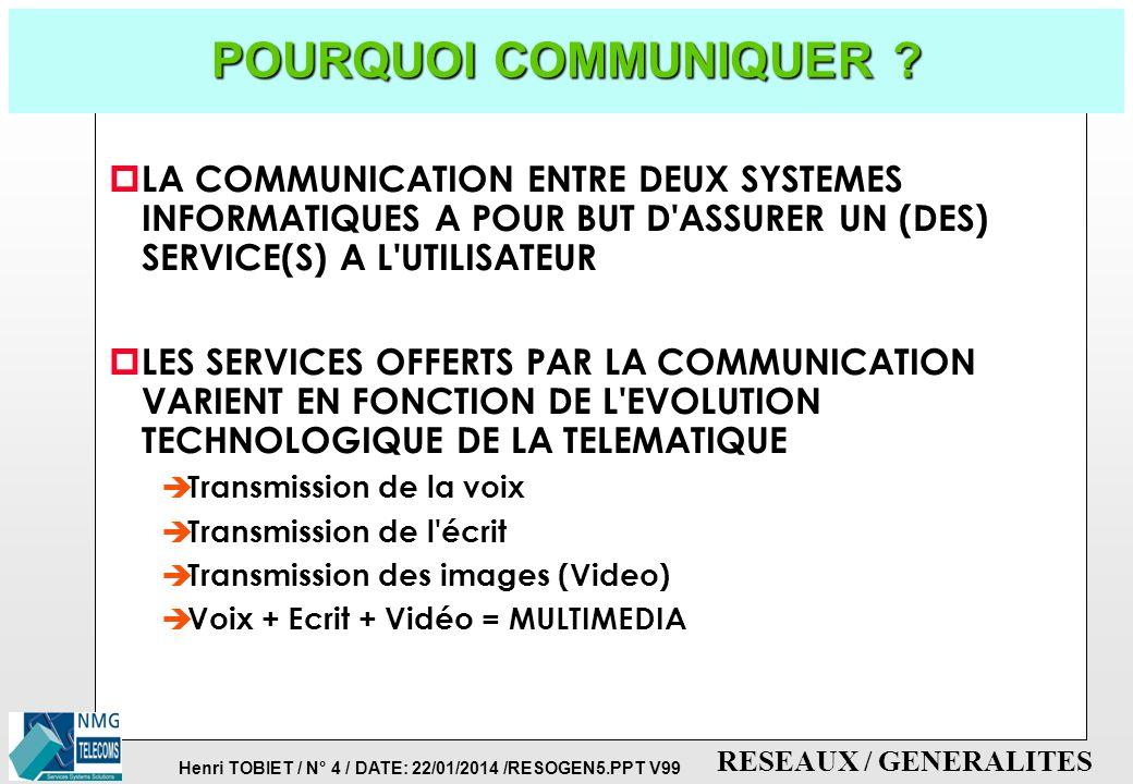 POURQUOI COMMUNIQUER LA COMMUNICATION ENTRE DEUX SYSTEMES INFORMATIQUES A POUR BUT D ASSURER UN (DES) SERVICE(S) A L UTILISATEUR.