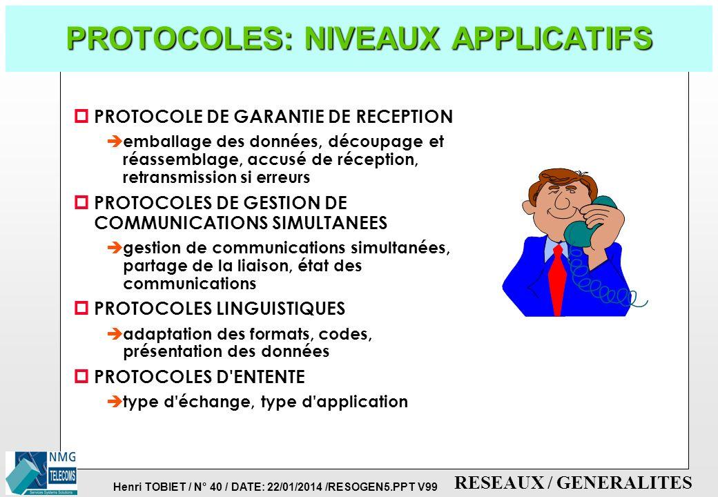 PROTOCOLES: NIVEAUX APPLICATIFS