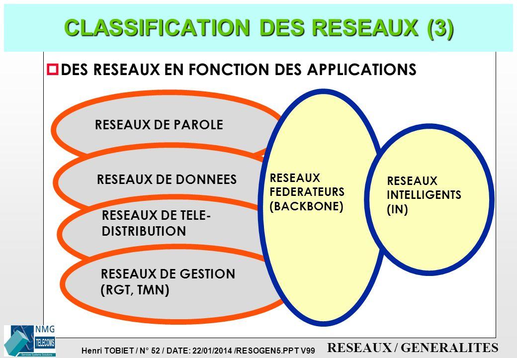 CLASSIFICATION DES RESEAUX (3)