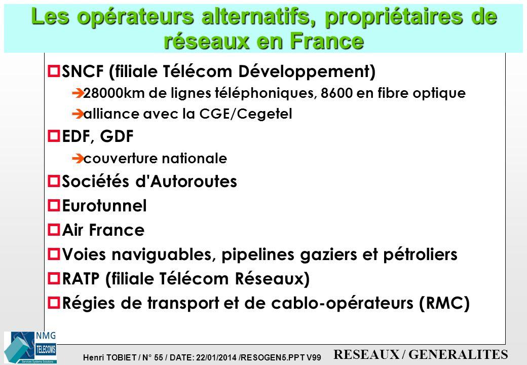 Les opérateurs alternatifs, propriétaires de réseaux en France