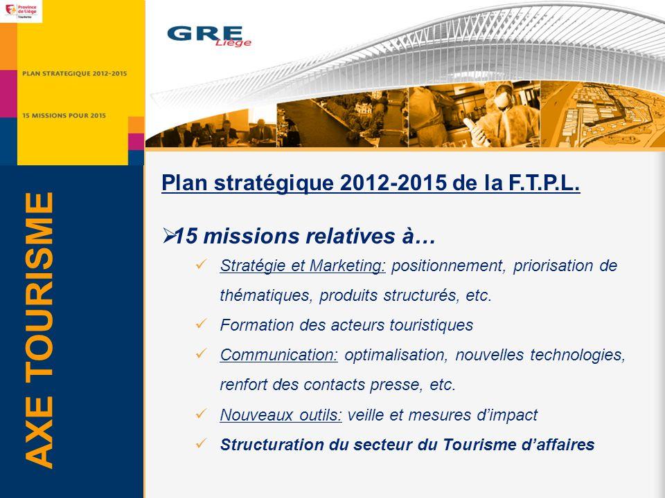 AXE TOURISME Plan stratégique 2012-2015 de la F.T.P.L.