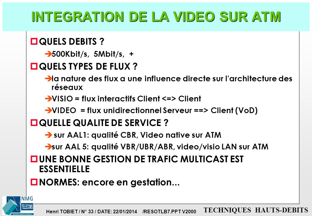 INTEGRATION DE LA VIDEO SUR ATM