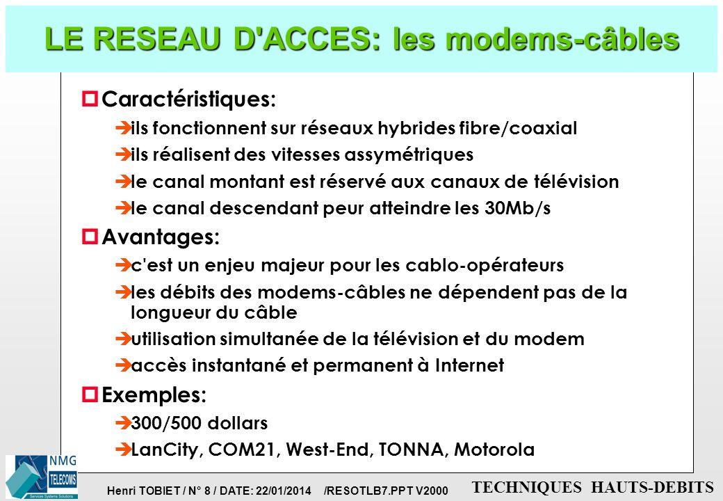 LE RESEAU D ACCES: les modems-câbles