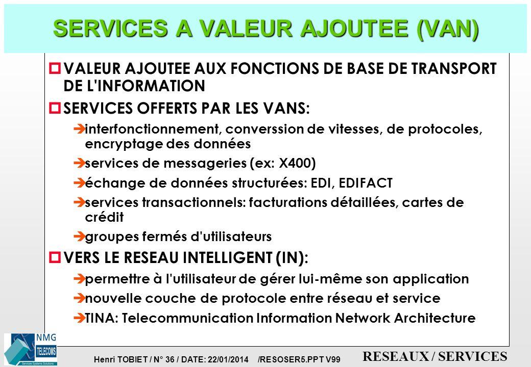 SERVICES A VALEUR AJOUTEE (VAN)