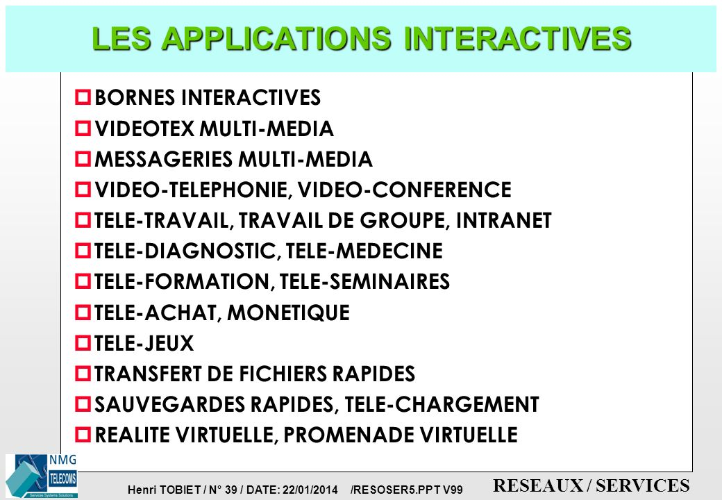LES APPLICATIONS INTERACTIVES
