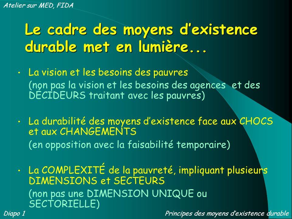 Le cadre des moyens d'existence durable met en lumière...