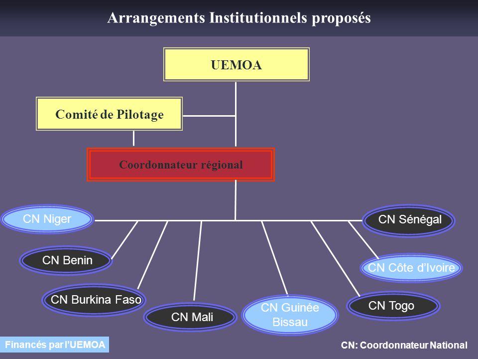 Arrangements Institutionnels proposés Coordonnateur régional