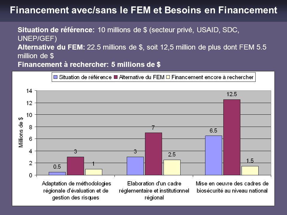 Financement avec/sans le FEM et Besoins en Financement