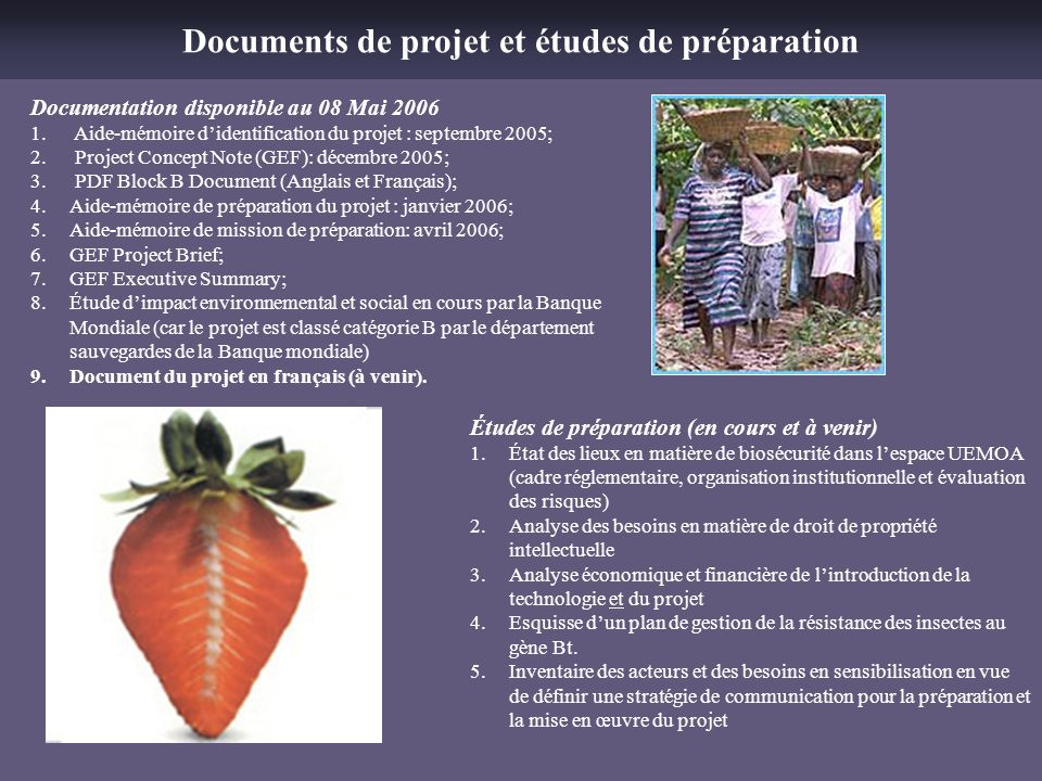 Documents de projet et études de préparation
