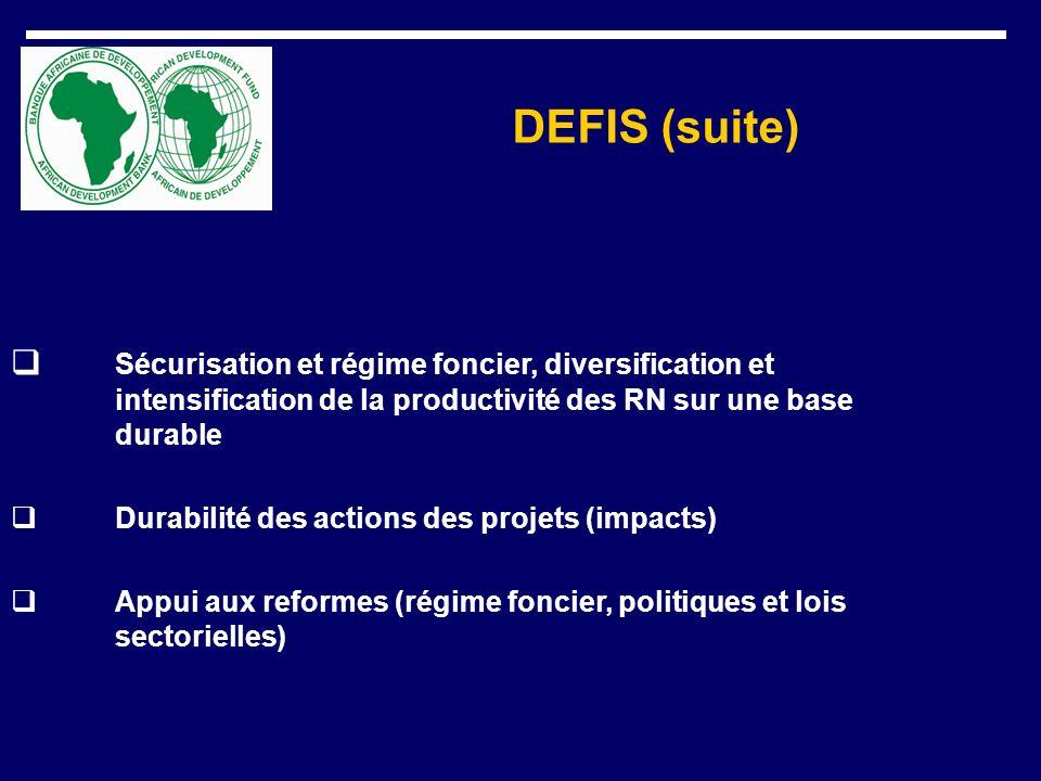 DEFIS (suite) Sécurisation et régime foncier, diversification et intensification de la productivité des RN sur une base durable.
