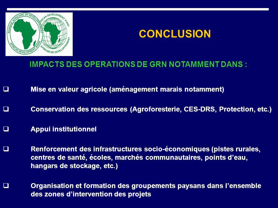 IMPACTS DES OPERATIONS DE GRN NOTAMMENT DANS :
