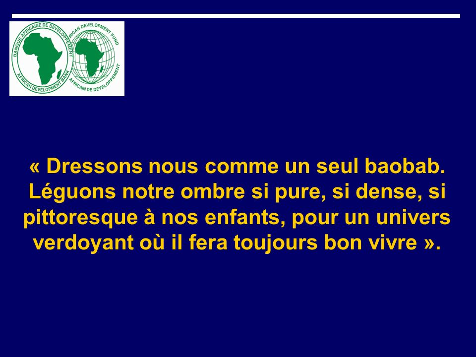 « Dressons nous comme un seul baobab