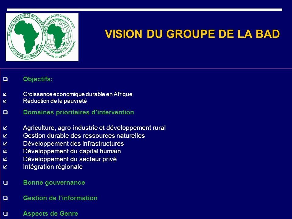 VISION DU GROUPE DE LA BAD